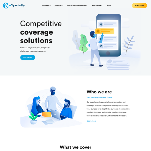 Insurance website with the title ' Modern insurance website design'