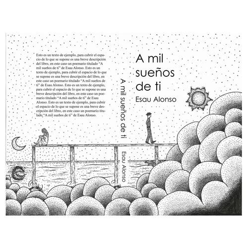 Dotwork design with the title 'Propuesta para portada de poemario'