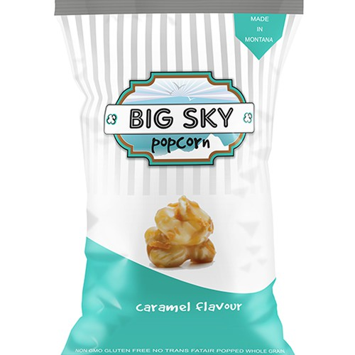 Popcorn design with the title 'Create a classy & exciting logo for Big Sky Popcorn!'