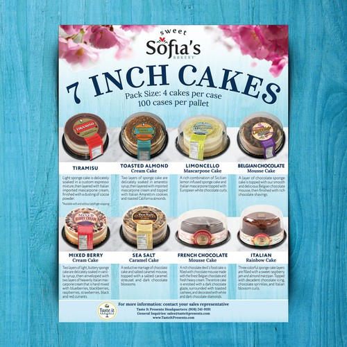 Cake design with the title 'Sell sheet for Taste It Presents Inc. (NJ, USA)'