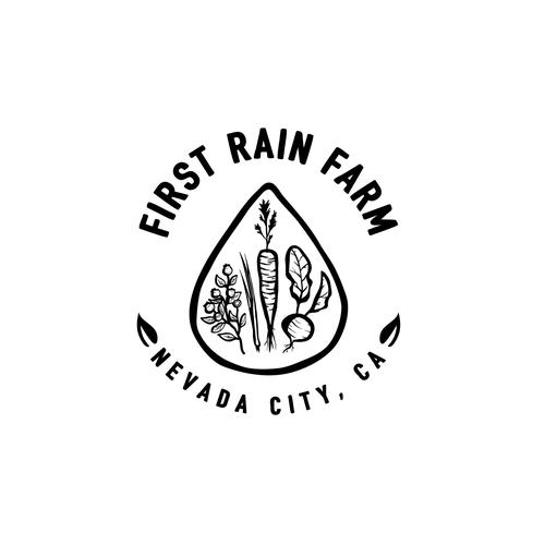 Rain design with the title 'Merchandise design for organic farm '