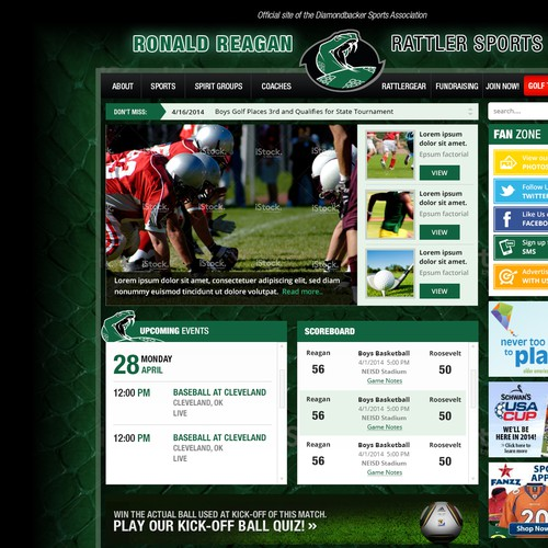 Aquatic design with the title 'Design an awesome website for high school sports!'