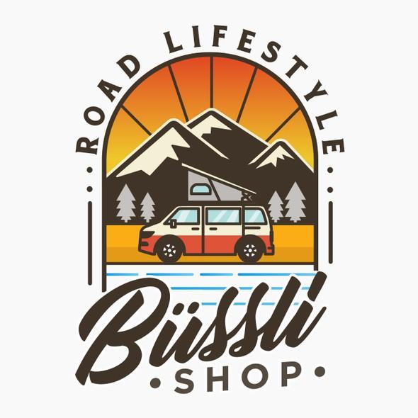 Road trip logo with the title 'Büssli-Shop'