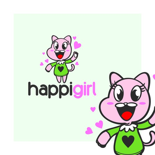Kitten design with the title 'happy girl'
