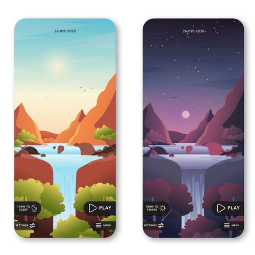 Adobe XD design with the title 'Custom illustration for mobile app'