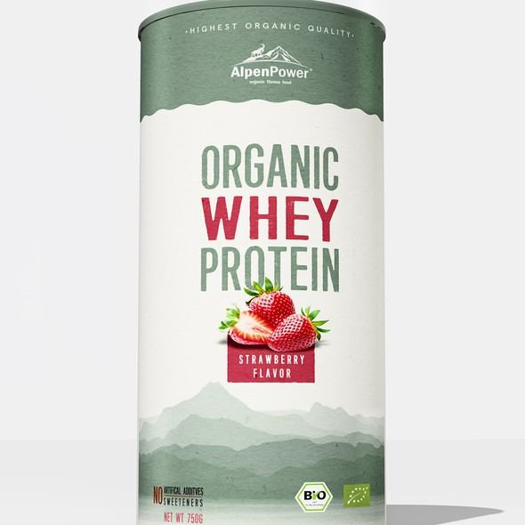Whey packaging with the title 'Whey protein packaging design'