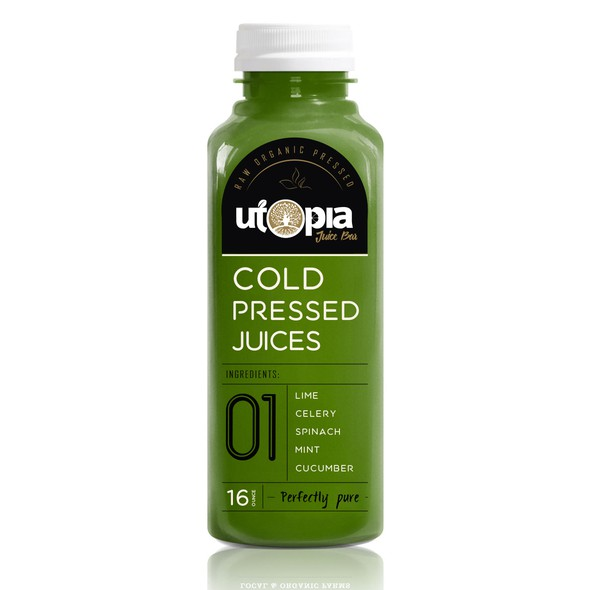 Pure label with the title 'Healthy juice bottles'