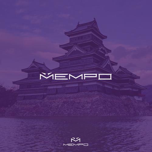Yellow and purple design with the title 'Bold samurai Mempo mask logo'