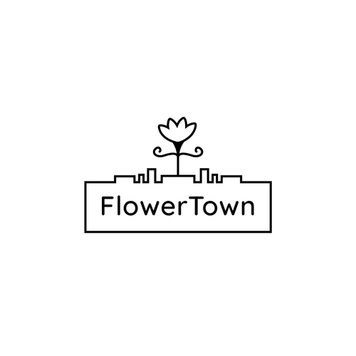 "Sculpture logo with the title 'Bold Logo for a cannabis focused marketing agency ""FlowerTown""'"