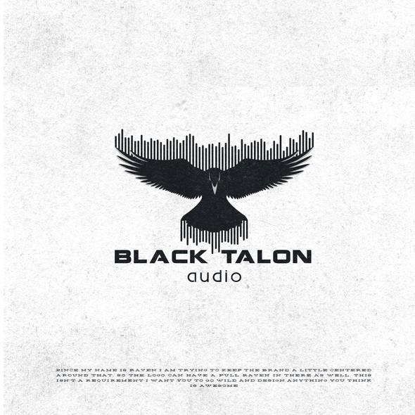 Recording studio design with the title 'Black Talon Audio Logo'