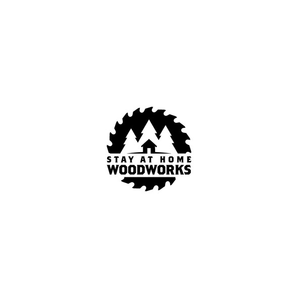 Saw blade design with the title 'Logo Design for Stay at Home Woodworks'