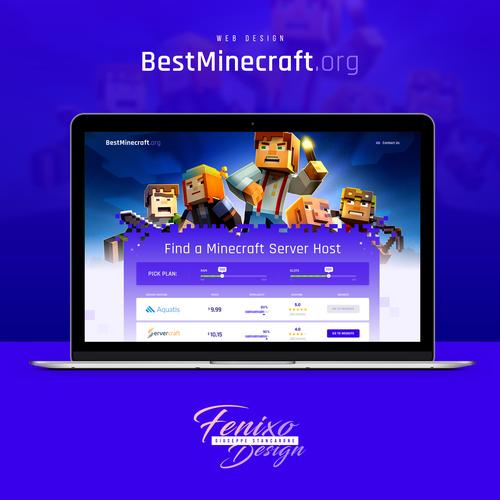 Hosting design with the title 'Best Minecraft hosting Server comparing'