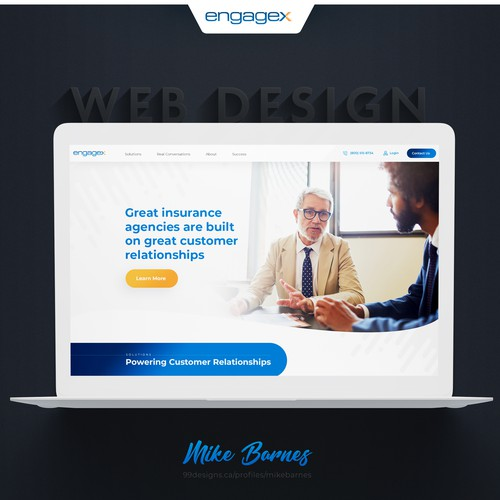 Mobile design with the title 'EngageX Website Design'