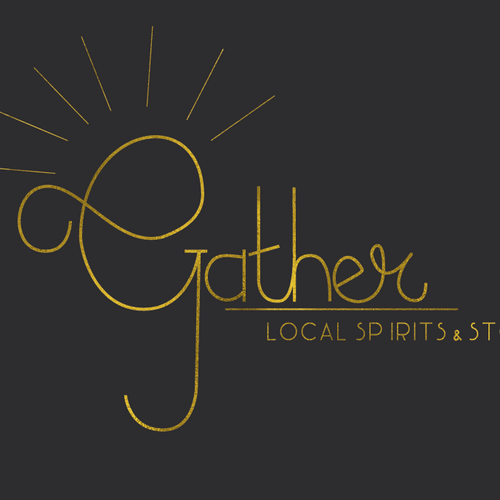 Gold foil logo with the title 'Gather - Local Spirits & Stories'