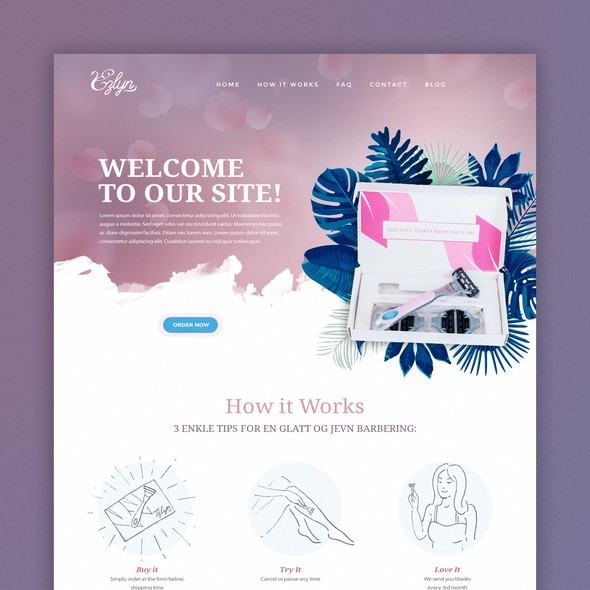 Ecommerce design with the title 'Website for women razor subscription box'
