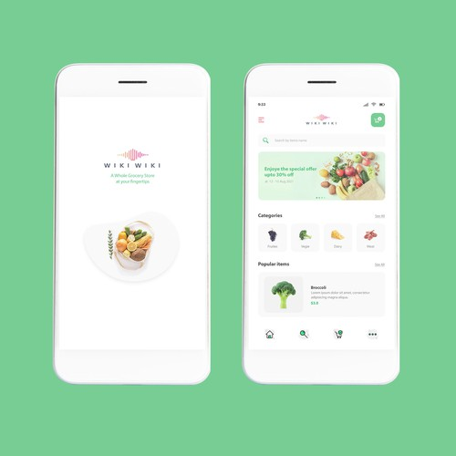 Grocery store design with the title 'Grocery app design'