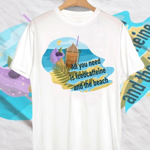 Beach bar design with the title 'Design for beach t-shirt'