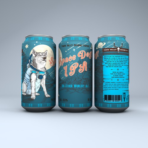 Can packaging with the title 'Space Dog Beer Can'