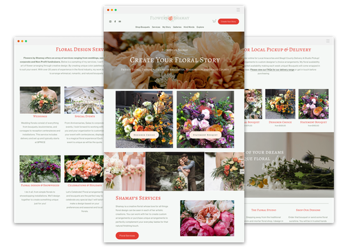 Flower shop design with the title 'Flowers by Shamay'