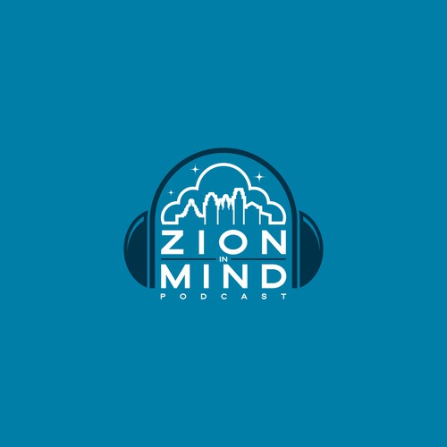 Religious logo with the title 'Zion in Mind - Podcast'