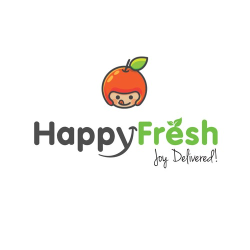 Online store brand with the title 'Happy Fresh | Logo design'