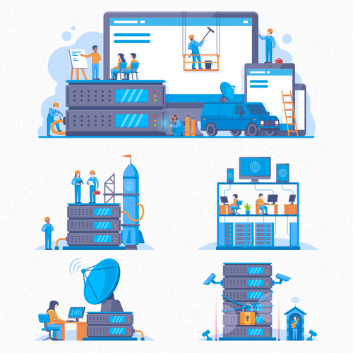 Simple artwork with the title 'Web Hosting Illustrations'