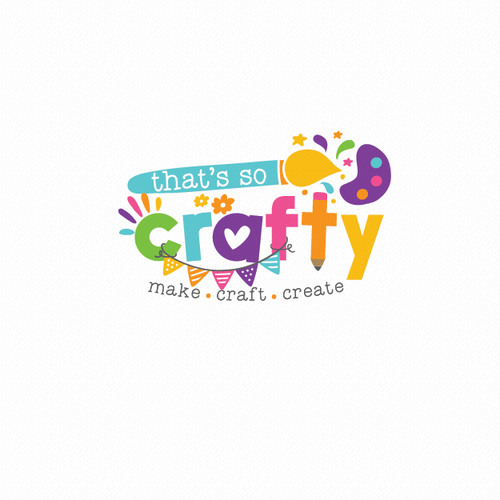 Bright logo with the title 'Cheerful and bright logo for a children's craft workshop'