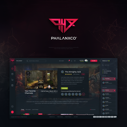 Gamer design with the title 'PHALANXCO eSoprt team community website design'