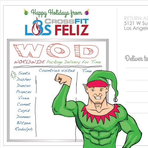 Elf design with the title 'Los Feliz Crossfit Gym Christmas Postcard'