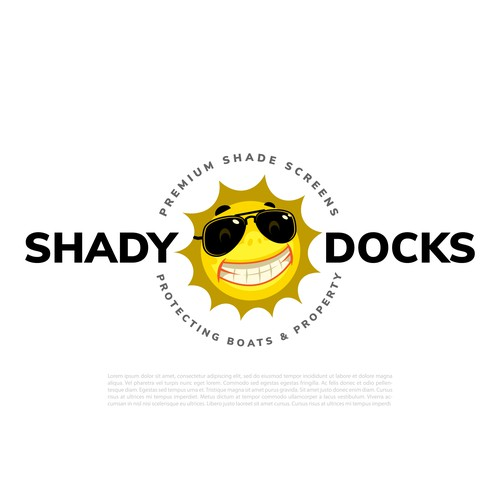 Sun design with the title 'Shady Docks'