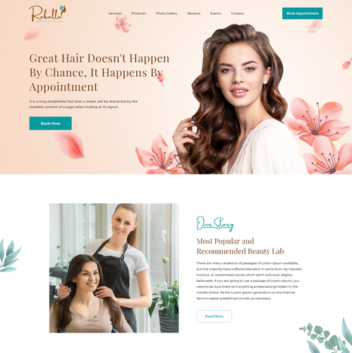 Adobe XD design with the title 'Beauty Salon Website'