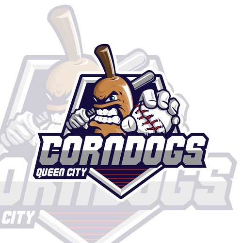 Baseball bat logo with the title 'Queen City Corn Dogs'