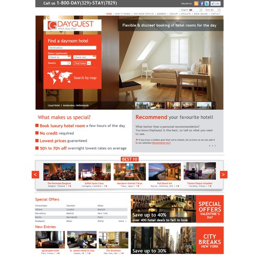 Booking website with the title 'Hotel booking website'