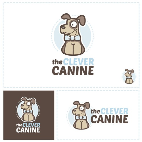 Adorable logo with the title 'Cartoon style dog-training logo'