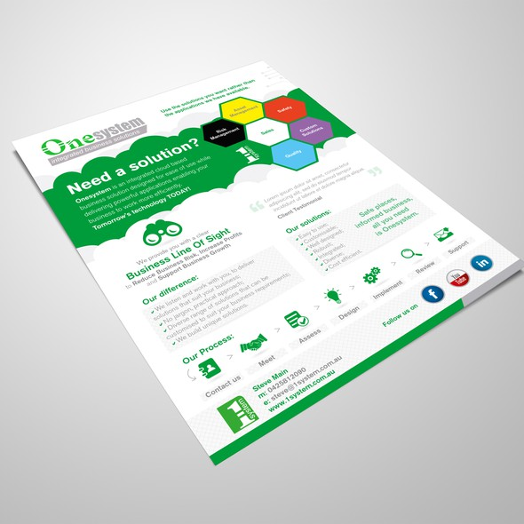 One page design with the title 'Cloud based business solutions brochure'
