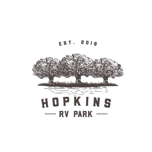Oak tree design with the title 'Hopkins RV Park'