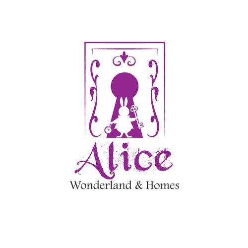 Alice in Wonderland design with the title 'powerful logo for Alice Wonderland & Homes'