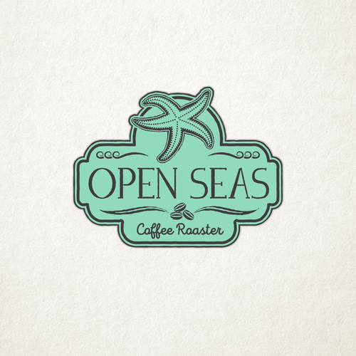 Seafood design with the title 'Vintage Sea Themed Design for Open Seas Coffe Roaster'