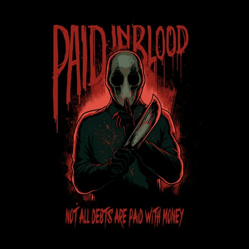 Horror t-shirt with the title 'Paid in blood '