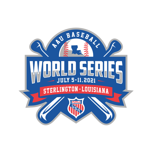 Tournament design with the title 'AAU Baseball World Series'