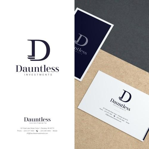 Royal blue logo with the title 'Dauntless Logo Design'