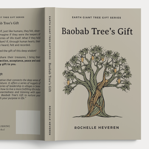 Spiritual design with the title 'Baobab Tree's Gift illustration, Book Cover and Essential Oil Bottle Sticker'