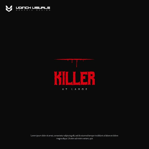 Bloody design with the title 'Killer At Large logo design'