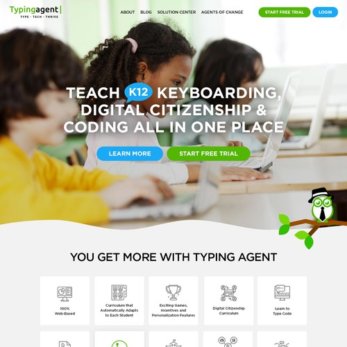 Course website with the title 'Kids' Learning Website'