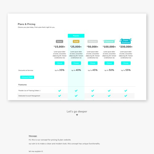 Plan design with the title 'Plan & Pricing concept'