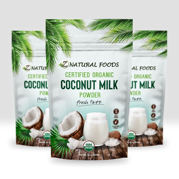 Healthy food packaging with the title 'Organic Coconut Milk powder'