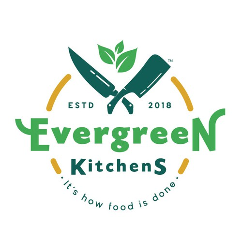 Evergreen design with the title 'Organic logo for a new catering service'