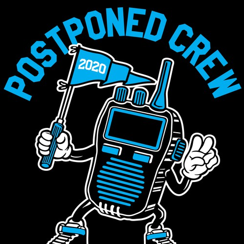 Mascot t-shirt with the title 'Postponed Crew'