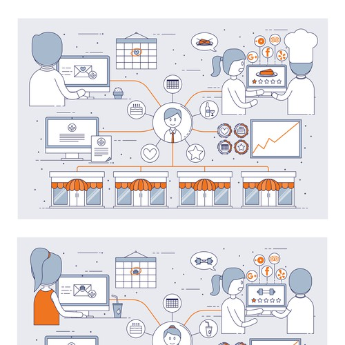 Character illustration with the title 'Icon-style infographic for a B2B company'