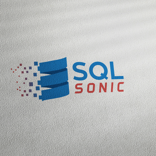 Blue and red logo with the title 'SQL Sonic Logo Design '